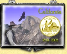 California - Yosemite Snaplock Display - with Gold Plated State Quarter
