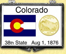 Colorado - State Flag Snaplock Display - with Gold Plated State Quarter