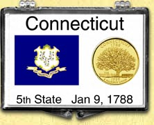 Connecticut - State Flag Snaplock Display - with Gold Plated State Quarter