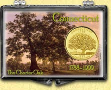 Connecticut - Charter Oak Snaplock Display - with Gold Plated State Quarter