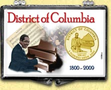 District of Columbia - Duke Ellington Snaplock Display - with Gold Plated Territorial Quarter