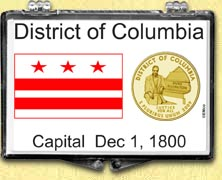 District of Columbia Flag Snaplock Display - with Gold Plated Territorial Quarter