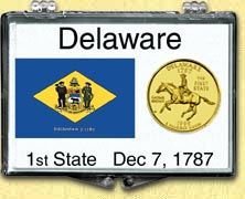 Delaware - State Flag Snaplock Display - with Gold Plated State Quarter