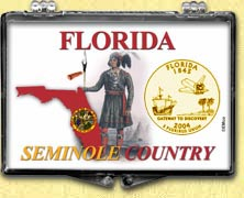 Florida - Seminole Country Snaplock Display - with Gold Plated State Quarter