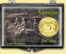 Georgia - Stone Mountain Snaplock Display - with Gold Plated State Quarter