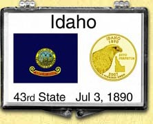 Idaho - State Flag Snaplock Display - with Gold Plated State Quarter
