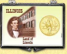 Illinois - Land of Lincoln Snaplock Display - with Gold Plated State Quarter