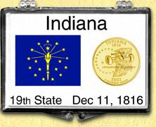Indiana - State Flag Snaplock Display - with Gold Plated State Quarter
