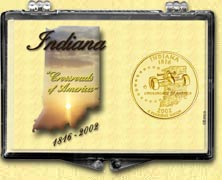 Indiana - State Motto Snaplock Display - with Gold Plated State Quarter