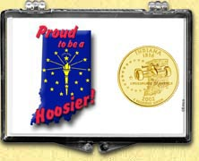 Indiana - Proud to be a Hoosier Snaplock Display - with Gold Plated State Quarter