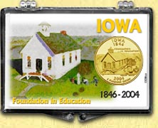 Iowa - Foundation In Education Snaplock Display - with Gold Plated State Quarter