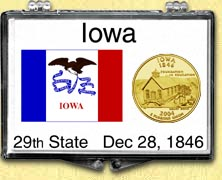 Iowa - State Flag Snaplock Display - with Gold Plated State Quarter
