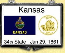 Kansas - State Flag Snaplock Display - with Gold Plated State Quarter