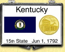 Kentucky - State Flag Snaplock Display - with Gold Plated State Quarter