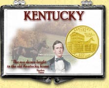 Kentucky - Old Kentucky Home Snaplock Display - with Gold Plated State Quarter