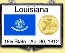 Louisiana - State Flag Snaplock Display - with Gold Plated State Quarter