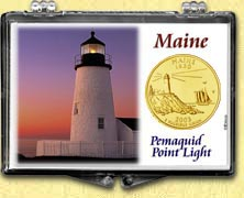 Maine - Pemaquid Point Light Snaplock Display - with Gold Plated State Quarter