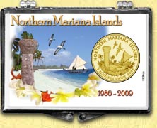 Northern Mariana Islands - Beach Snaplock Display - with Gold Plated Territorial Quarter