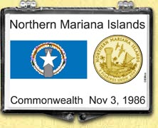 Northern Mariana Islands Flag Snaplock Display - with Gold Plated Territorial Quarter
