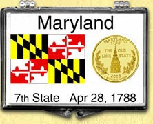 Maryland - State Flag Snaplock Display - with Gold Plated State Quarter