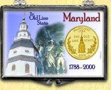 Maryland - Old Line State Snaplock Display - with Gold Plated State Quarter
