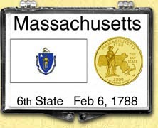 Massachusetts - State Flag Snaplock Display - with Gold Plated State Quarter