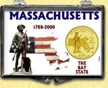 Massachusetts - Minuteman Snaplock Display - with Gold Plated State Quarter