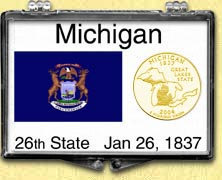 Michigan - State Flag Snaplock Display - with Gold Plated State Quarter MAIN