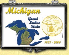 Michigan - Great Lakes State Snaplock Display - with Gold Plated State Quarter