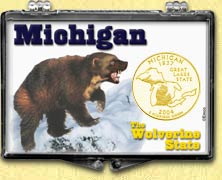 Michigan - Wolverine State Snaplock Display - with Gold Plated State Quarter