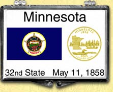 Minnesota - State Flag Snaplock Display - with Gold Plated State Quarter