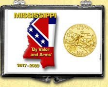 Mississippi - State Motto Snaplock Display - with Gold Plated State Quarter