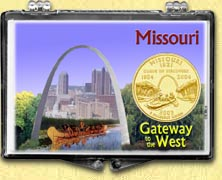 Missouri - Gateway to the West Snaplock Display - with Gold Plated State Quarter
