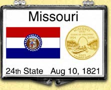 Missouri - State Flag Snaplock Display - with Gold Plated State Quarter