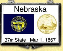 Nebraska - State Flag Snaplock Display - with Gold Plated State Quarter