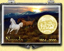 Nevada - Horses Snaplock Display - with Gold Plated State Quarter