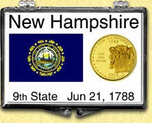 New Hampshire - State Flag Snaplock Display - with Gold Plated State Quarter
