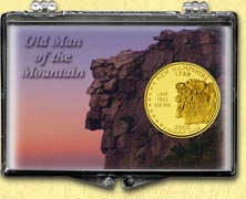 New Hampshire - Old Man of the Mountain Snaplock Display - with Gold Plated State Quarter