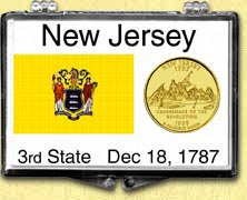 New Jersey - State Flag Snaplock Display - with Gold Plated State Quarter