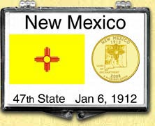 New Mexico State Flag Snaplock Display - with Gold Plated State Quarter