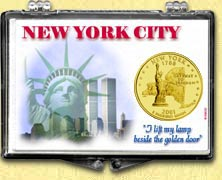 New York - New York City Snaplock Display - with Gold Plated State Quarter