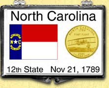 North Carolina - State Flag Snaplock Display - with Gold Plated State Quarter