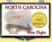 North Carolina - First Flight Snaplock Display - with Gold Plated State Quarter