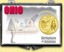 Ohio - Birthplace of Aviation Snaplock Display - with Gold Plated State Quarter