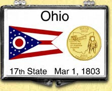 Ohio - State Flag Snaplock Display - with Gold Plated State Quarter