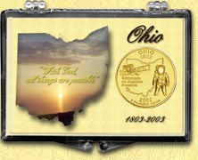 Ohio - State Motto Snaplock Display - with Gold Plated State Quarter