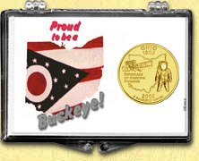Ohio - Proud to be a Buckeye Snaplock Display - with Gold Plated State Quarter