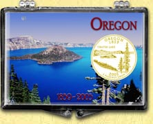 Oregon - Crater Lake Snaplock Display - with Gold Plated State Quarter