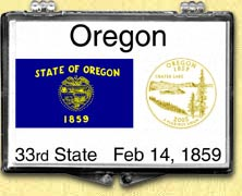 Oregon - State Flag Snaplock Display - with Gold Plated State Quarter