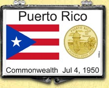 Puerto Rico Flag Snaplock Display - with Gold Plated Territorial Quarter